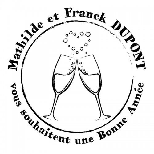 Tampon voeux champagne 5 cm à personnaliser Tamporelle