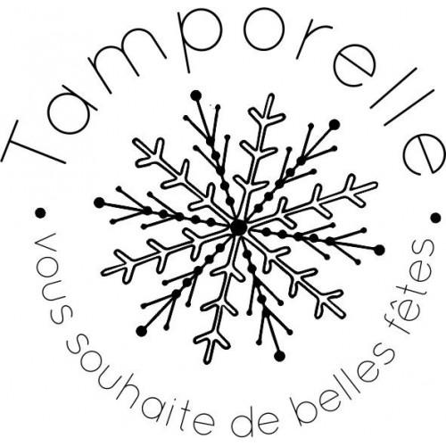 Tampon flocon de voeux 5 cm à personnaliser Tamporelle
