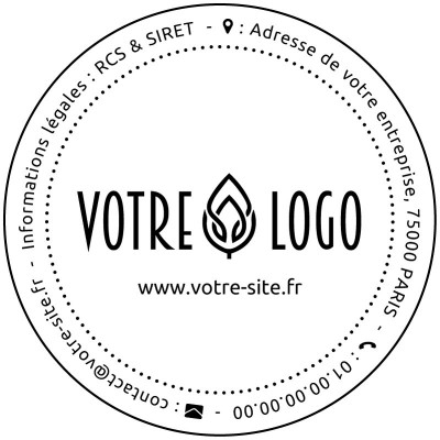 Tampon logo rond à personnaliser 5 cm Tamporelle