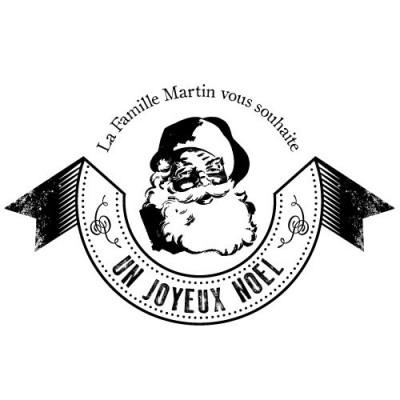 Tampon noel Santa vintage bois