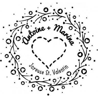 Tampon coeur et branches Saint Valentin 5 cm à personnaliser Tamporelle