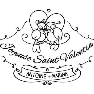 Tampon oiseaux Saint Valentin personnalisé