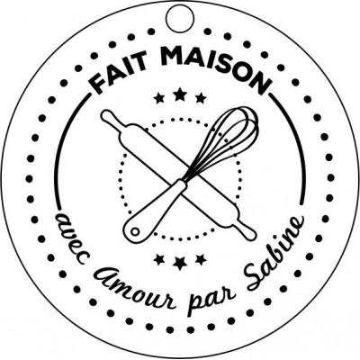 Tampon étiquette ronde à personnaliser 5 cm Tamporelle