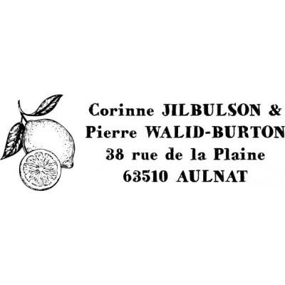 Tampon encreur adresse personnalisé citron