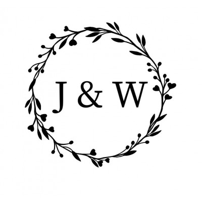 Tampon rond initiales mariage feuilles personnalisé bois